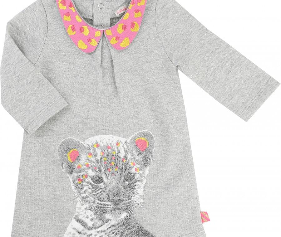 Abitino grigio con colletto colorato e tigre