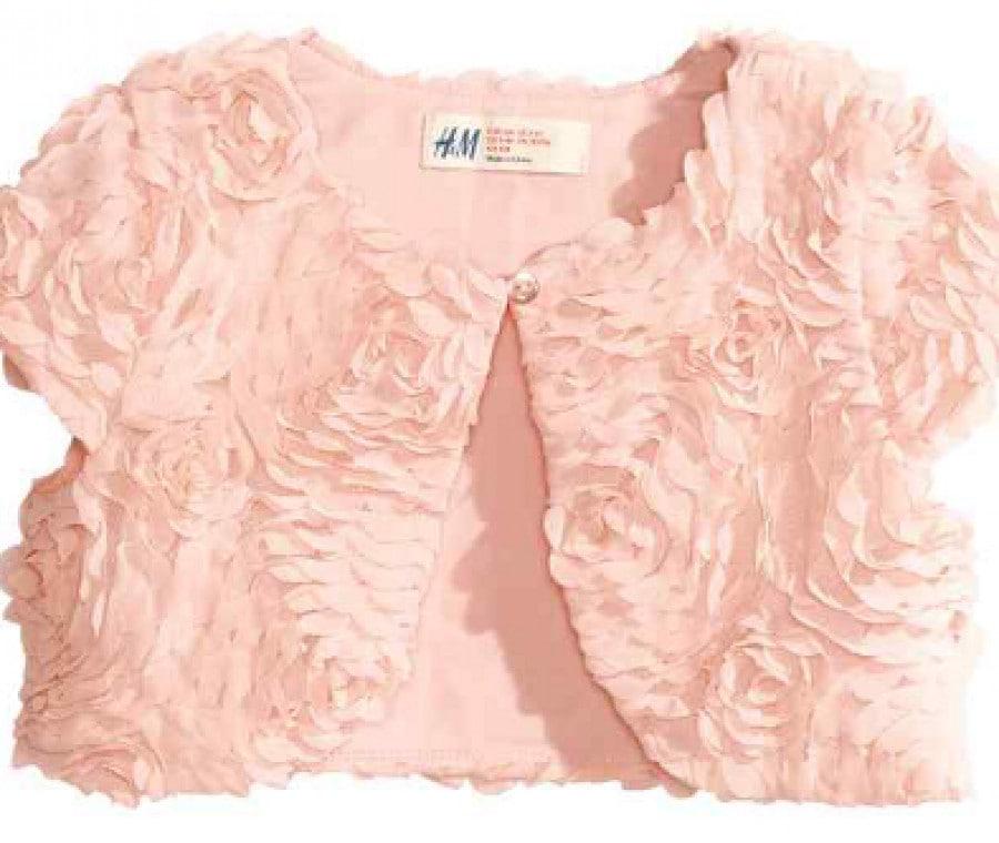 H&M, abiti da cerimonia per bambini | Coprispalle con decorazione floreale | Foto