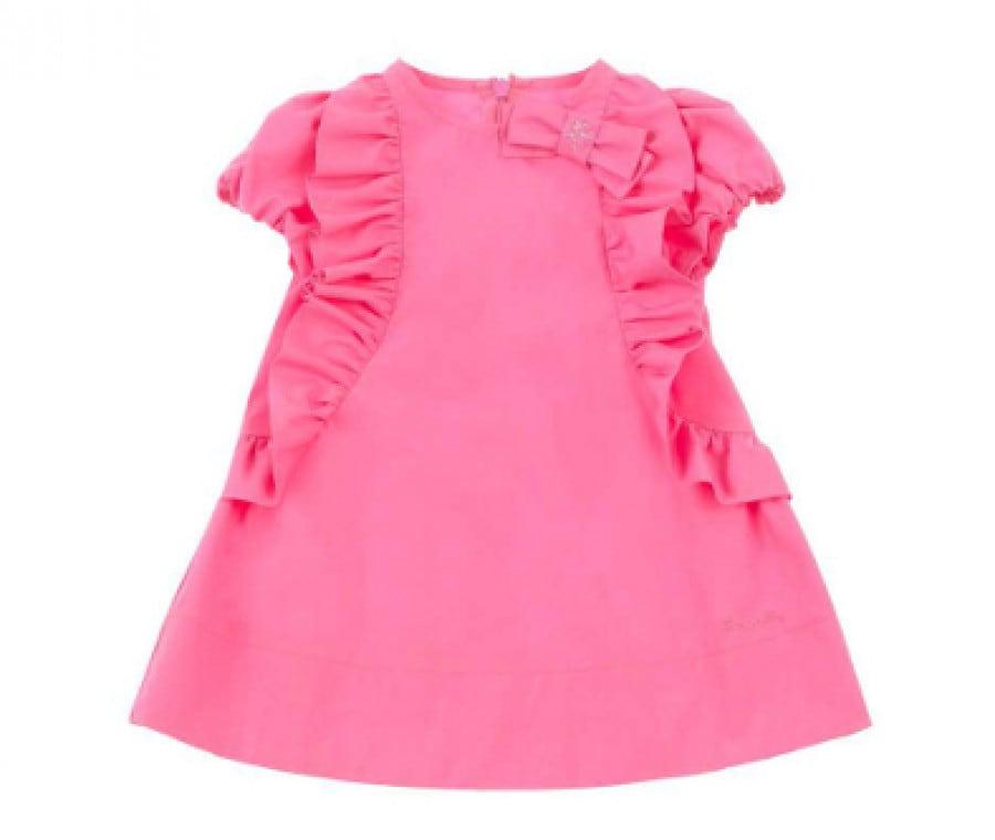 Simonetta: collezione p/e 2015 per neonati | Abito rosa con rouches e fiocco | Foto