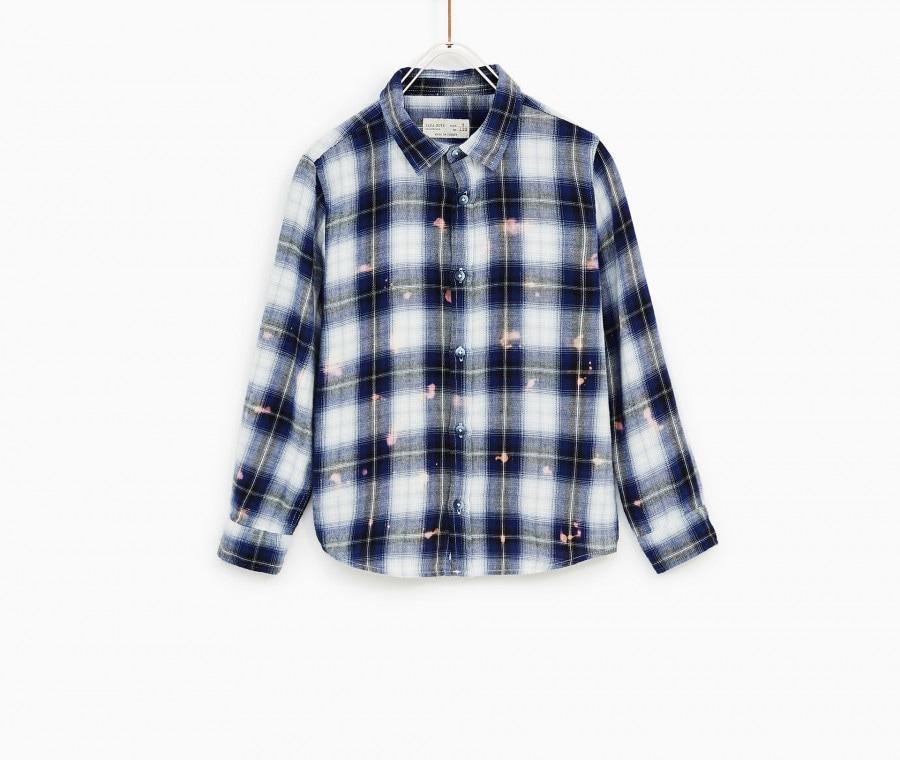 Camicia a quadri con macchie di pittura Zara