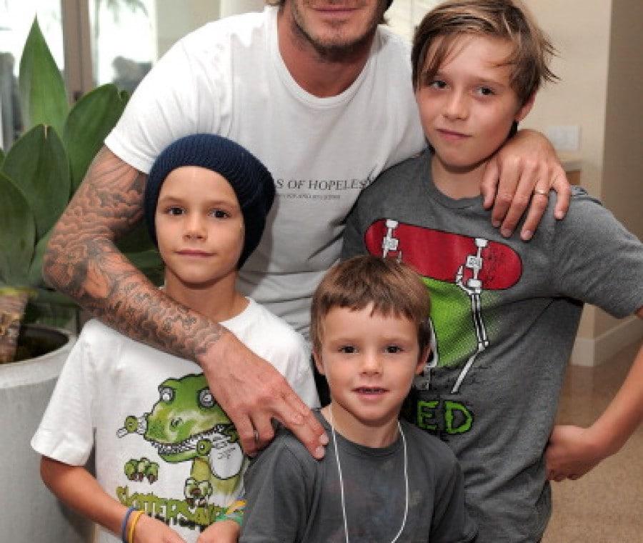 Beckham con i figli