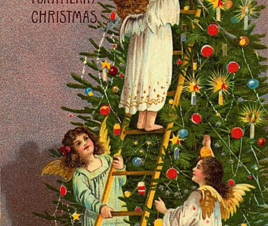 Cartoline di Natale vintage | Angeli che decorano l'abete | Foto